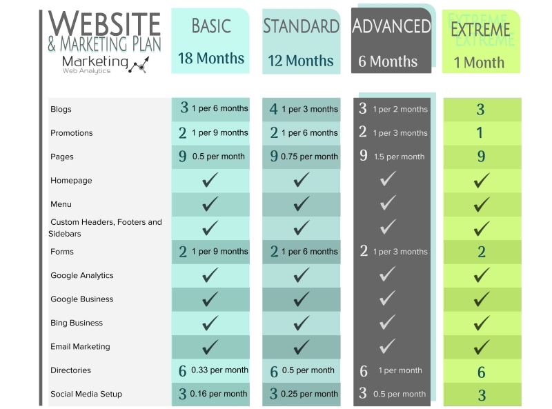 Website and Marketing Plan Chart